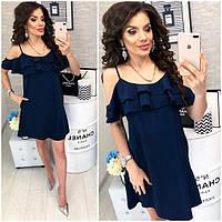 Платье короткое ,летнее  с воланом, модель 102,  Темно-синий