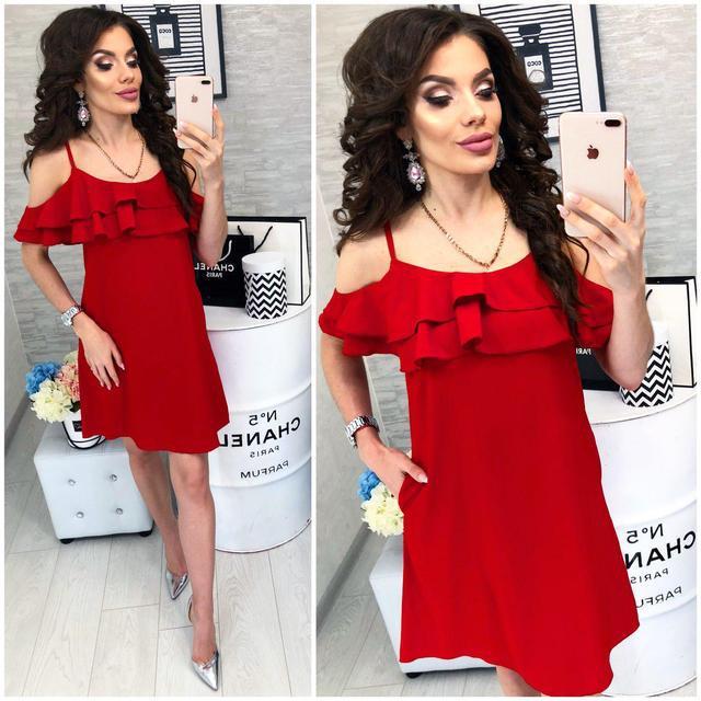 Платье короткое ,летнее  с воланом, модель 102,  Красный