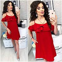Платье короткое ,летнее  с воланом, модель 102,  Красный, фото 1