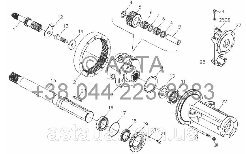 Главная передача (скольжения вала привода) (опция) на YTO-X754