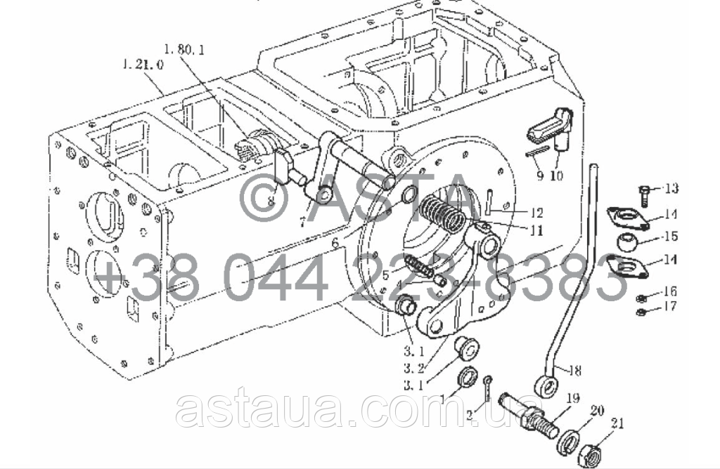 Коробка отбора мощности в сборе (дополнительно) 540r/min или 1000r/min на YTO X754