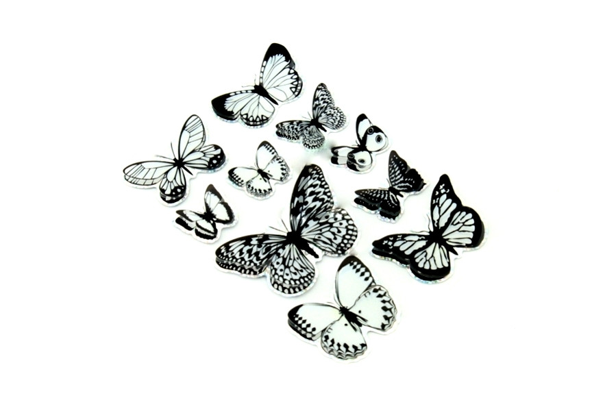 Handmade набор наклейка 3D бабочки черно-белые