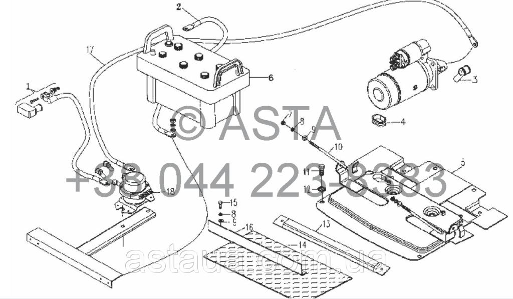 Аккумулятор и кронштейн (вариант с главным выключателем питания) на YTO X754