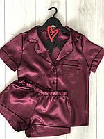 Атласна піжама сорочка і шорти жіноча