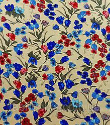 Штапель  цветы  на  бежевом  ш-140 см