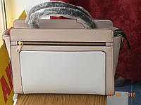 Элегантная сумка бежево-белая
