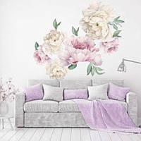 Виниловая интерьерная наклейка Нежные акварельные Пионы (наклейки на обои стены цветы)