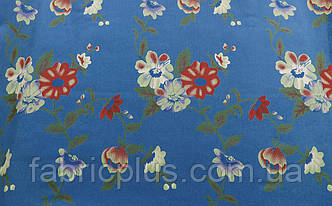 Джинс  цветы  на  голубом  ш-140 см