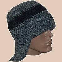 Мужская вязаная шапка-ушанка цвета маренго