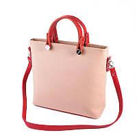 Розовая женская сумка М61-65/68 пудра с красными вставками, фото 1