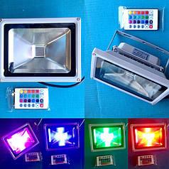 Светодиодный прожектор RGB 20 W с пультом дистанционного управления
