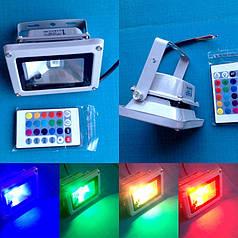Светодиодный прожектор RGB 10 W с пультом дистанционного управления