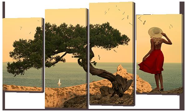 Модульная картина Девушка на берегу