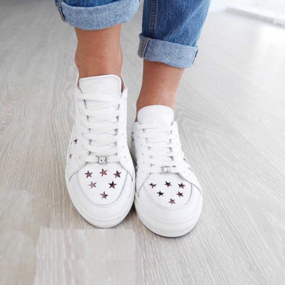 Стильные кожаные женские белые кроссовки летние В20314 - Модный  оптово-розничный магазин branda в Харькове d38dc569bf6