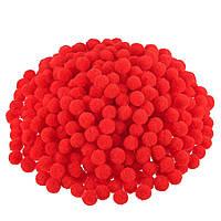Красные помпоны плюшевые (снежки) 1 см 500 шт/уп, фото 1