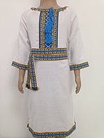 70b70c1208b88c Плаття для дівчинки з блакитно-жовтою вишивкою трьохчетвертний рукав