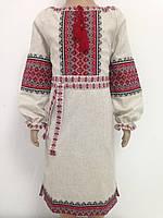 Плаття для дівчинки з червоною вишивкою ткане полотно