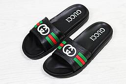 Мужские шлепанцы Gucci (черные), ТОП-реплика