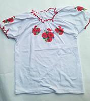 Детская футболкадля девочки от 7до 10лет, белая (вышиванка)