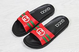 Мужские шлепанцы Gucci (красные), ТОП-реплика
