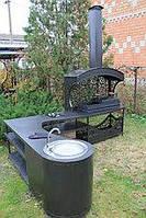 """Мангальная зона """"Тамерлан"""" с угловым столом, вытяжкой и мойкой для установки в беседки, фото 1"""