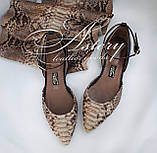 Женские бежево-песочные балетки из питона, фото 2