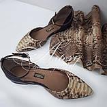 Женские бежево-песочные балетки из питона, фото 4