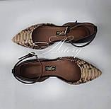Женские бежево-песочные балетки из питона, фото 6