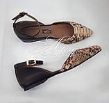 Женские бежево-песочные балетки из питона, фото 8