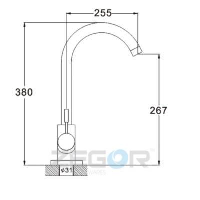 Смеситель кухонный ZEGOR SAP4-A090 нержавейка, фото 2