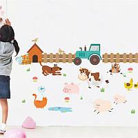 """Интерьерная виниловая наклейка на стену """"Трактор с животными"""""""