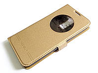 Чехол книжка с окошком momax для LG K8 k350e золотой
