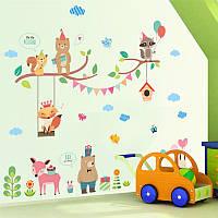 """Интерьерная виниловая наклейка на стену """"Лесные звери ZY241"""""""