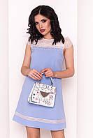 Летнее платье голубого цвета с коротким рукавом. Модель 34549, коллекция весна-лето 2018