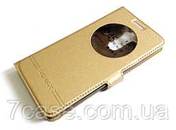 Чехол книжка с окошком momax для LG G3s (G3 mini) золотой