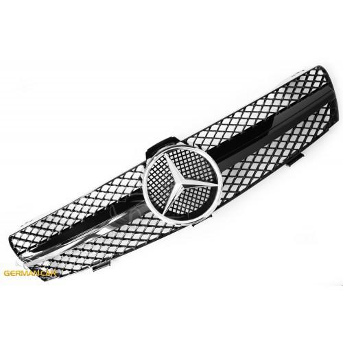 Решетка радиатора Mercedes CLS W219 дорестайл стиль AMG (черный глянц + хром звезда)