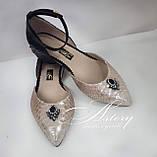 Женские золотисто-пудровые балетки из питона, фото 2