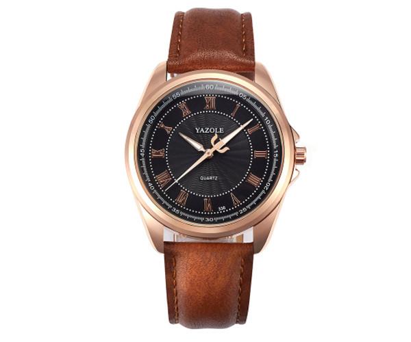 Мужские часы Yazole brown - гарантия 6 месяцев