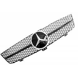 Решетка радиатора Mercedes CLS W219 рестайл стиль AMG (черный глянц + хром звезда)