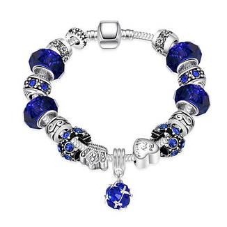 """Браслет женский в стиле Pandora с синими шармами """"My Star"""" покрытие серебро 925, фото 2"""