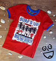 Футболка для мальчиков Surfs up 10 лет Рост 140 см Красный Хлопок 3953(140) Турция