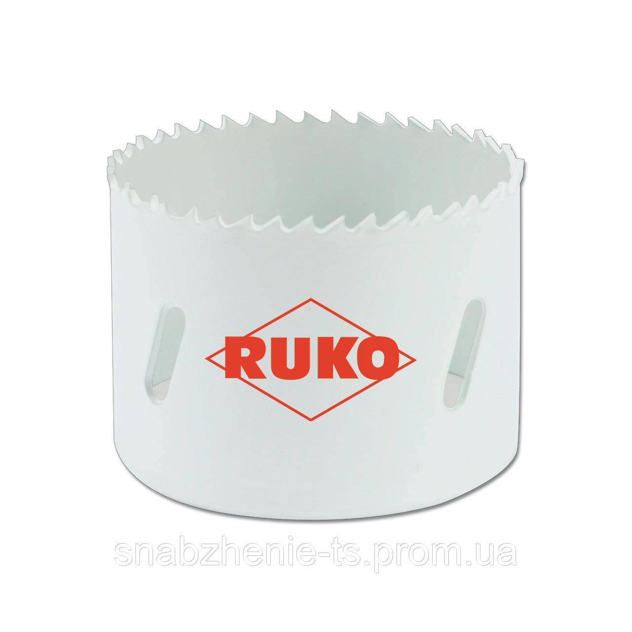 Коронка по металлу 95 мм HSSE-Co 8, биметаллическая c мелкими зубьями, RUKO