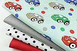 """Лоскут ткани """"Машинки и горошек"""" на мятном (№1401), фото 2"""