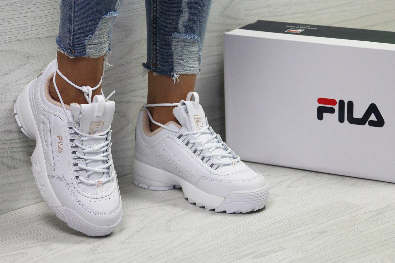 Женские белые стильные кроссовки Fila (5386)   продажа, цена в ... 17e9c6c7f41
