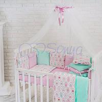 Балдахин Baby Design белый с розовым (овальная, стандартная), фото 1