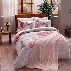 Набор постельного белья TAC ранфорс + плед вязанный Triko - Armina розовый V2 евро
