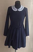 Школьное платье с длинным рукавом Ahsen синее с поясом и съемным белым воротничком