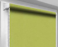 Ролеты тканевые (рулонные шторы) Лен, оливка 0873, открытый короб