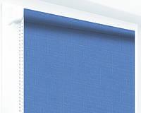 Ролеты тканевые (рулонные шторы) Лен, синий 0874, открытый короб