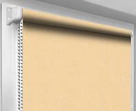 Ролеты тканевые (рулонные шторы) Лен, бежевый 0877, открытый короб